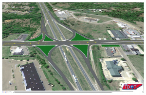 View from east to west of I-40 Canada Road Intersection with overlay of SPUI interchange design.