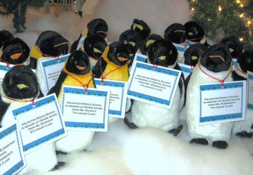 Penguins donated by students at AMS on display at the Penguin Pond at the Pink Palace museum.  Photo courtesy of AMS.