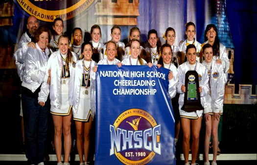 Briarcrest Varsity Cheerleaders at Nationals, including Lakeland residents Mandy Borth and Kingsley Branham