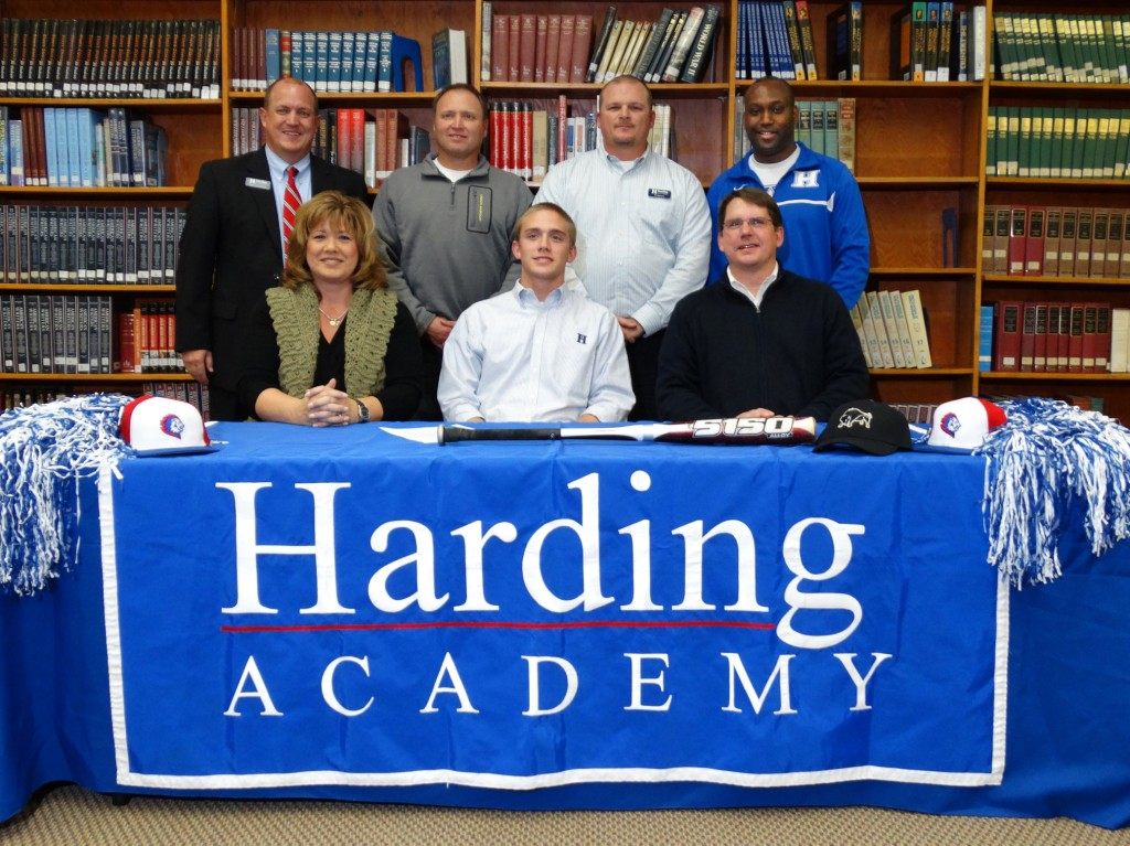 Photo Courtesy of Harding Academy Back row (l to r): Trent Williamson, Harding Academy President; Kerry Sweeney, Memphis Tigers coach; Al Stevens, Harding baseball coach; Kevin Starks, Vice President and Athletic Director Front row (l to r): Carla Ward, Jackson Ward, Joe Ward