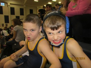 Mikey Anderson and Connor Nettleton get ready for their next match. Photo by Kira Nettleton
