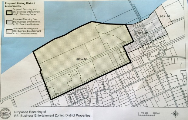 Map of Proposed Rezoning for BE Business Entertainment Zoning District Properties