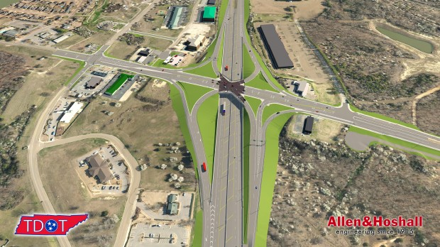 An aerial view of the new i-40/Canada Road interchange looking east. Image courtesy of TDOT.