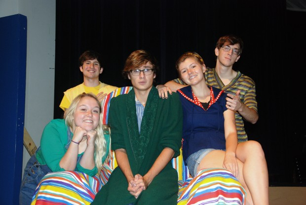 "Pictured:  The cast of Schoolhouse Rock Live! Jr., left to right, are Breonna Jackson ""Shulie""; Tim Pope, ""George""; Nick Behymer, ""Tom""; Parker Chase, ""Josephine:; and Matthew Newsom, ""Joe."" Staff Photo."