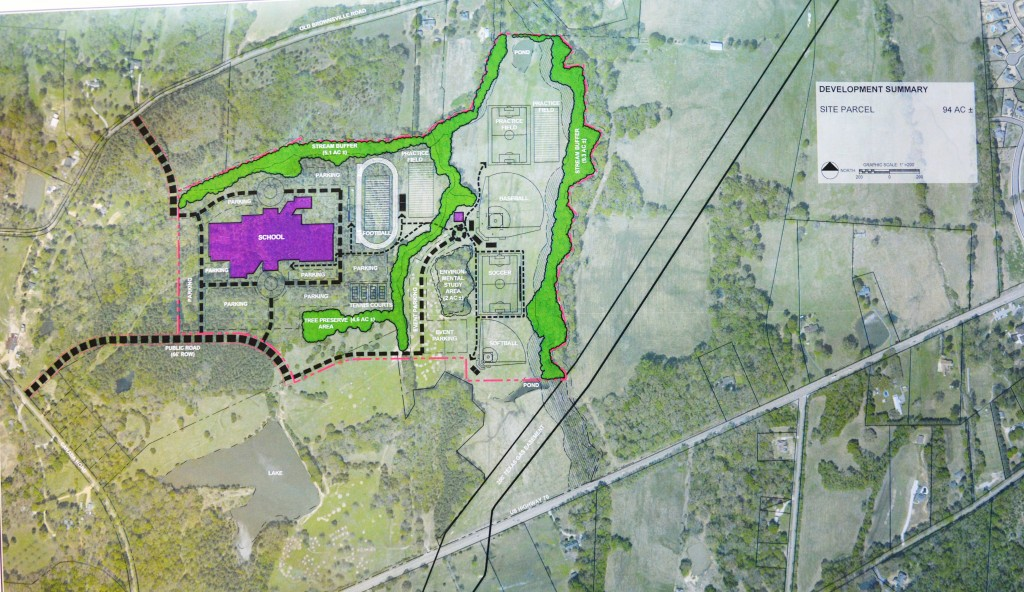 The proposed site for Lakeland Prep, a project to construct a 262,000 square foot middle/high school in Lakeland lies just north of Highway 70 and east of Canada Road. Access to the site will include public streets from Canada Road and Old Brownsville Road, as well as a future connector to Highway 70. The Lakeland School Board approved purchase of the site on January 12, 2015.