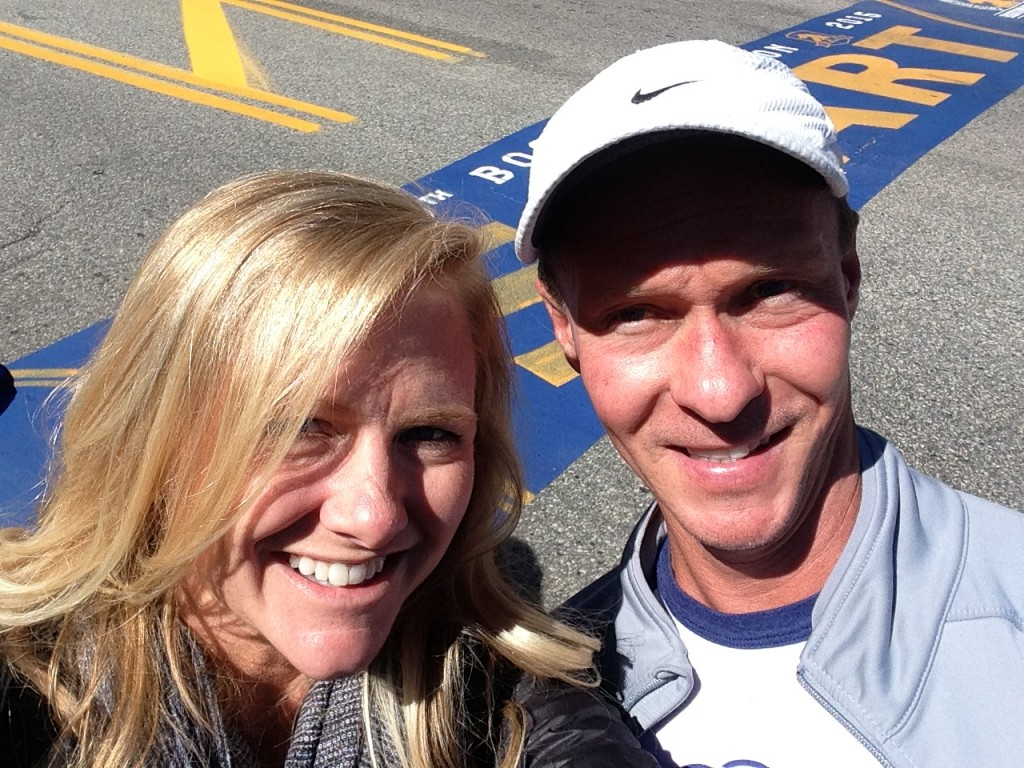 Courtney and Mike Barnes at the staring line for the Boston Marathon in Hopkinton, Mass.
